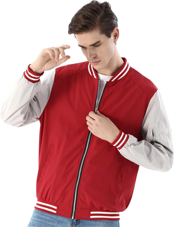 WULFUL Mens Casual Lightweight Jacket Softshell Flight Bomber Jacket Varsity Coat