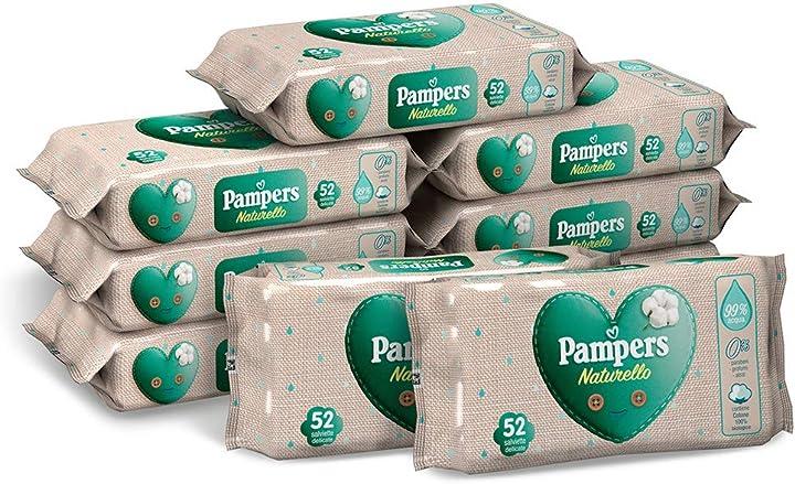 Pampers naturello salviettine delicate, 99% di acqua, con cotone 100% biologico 9 confezioni da 52 pezzi 2760021