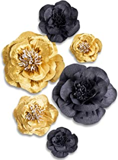 Letjolt Artificial Paper Flower Decorations for Christmas Backdrop Xmas Party New Year Decor Wedding Ornaments Baby Shower Bridal Shower Nursery Wall Decor(Golden Black Set 6)