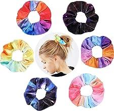 6 Pack Tie Dye Hair Scrunchies Star Scrunchie Sky Tie Dye Hair Ties Space Scrunchies Ponytail Holder Rainbow Cloud Scrunch...