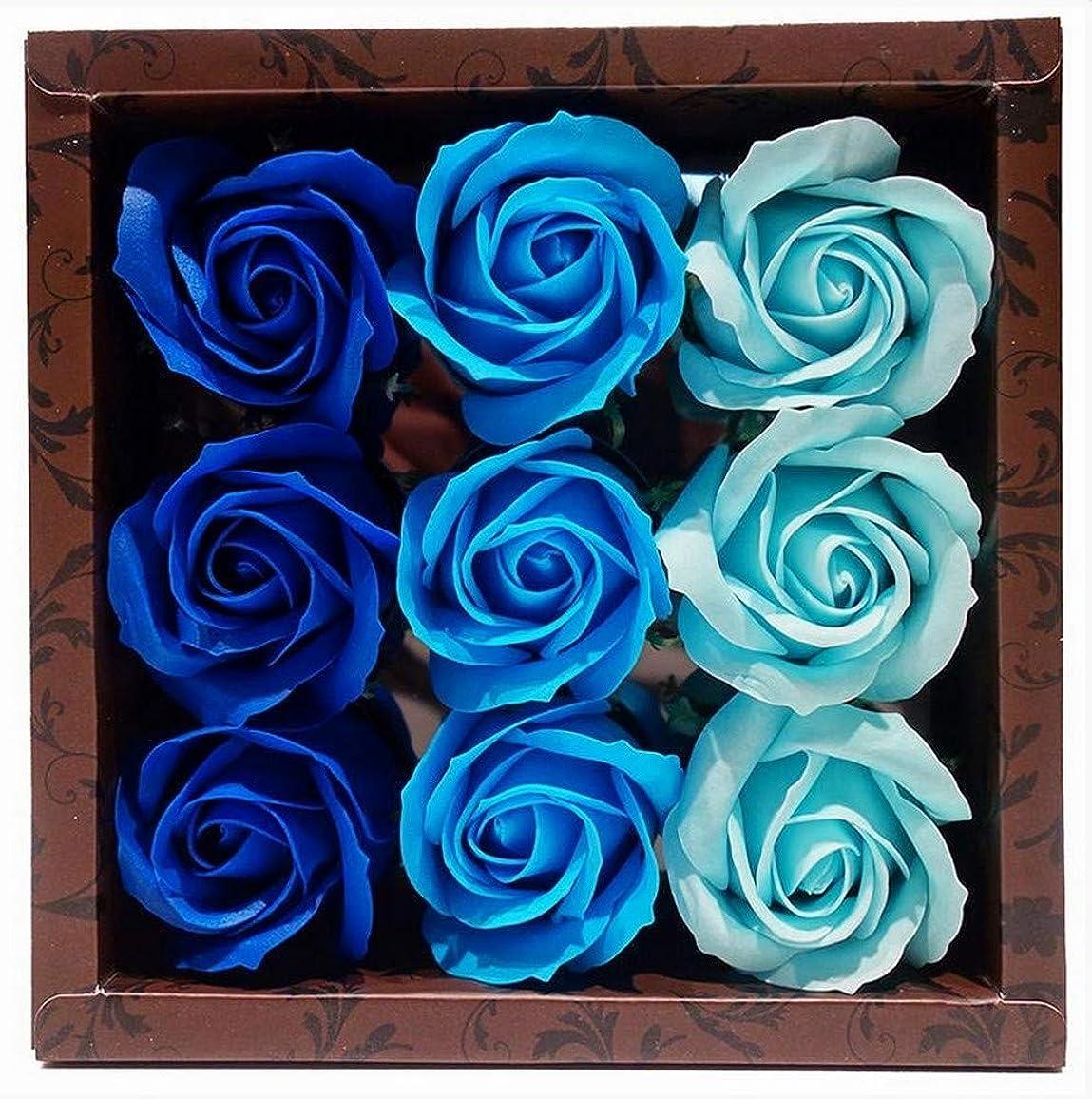 妖精ダメージ二層花のカタチの入浴料 ローズ バスフレグランス フラワーフレグランス バスフラワー (ブルー)