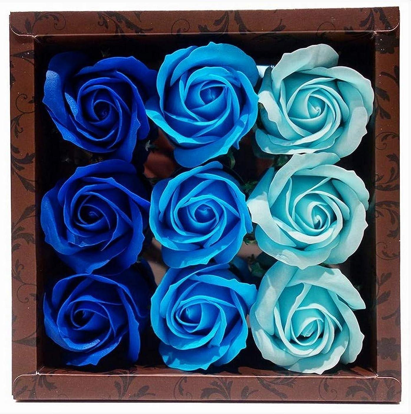 男性脅迫痛み花のカタチの入浴料 ローズ バスフレグランス フラワーフレグランス バスフラワー (ブルー)