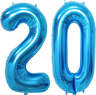 MAGJUCHE 40 inch Blue Foil 20 Helium Jumbo Digital Number Balloons,Blown up with Helium, 20th Birthday Party Supplies Decoration for Girls or Boys