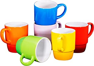 Ceramic Stacking Coffee Mug Tea Cup Dishwasher Safe Set of 6 – Large 18 Ounce, Gradient Colors