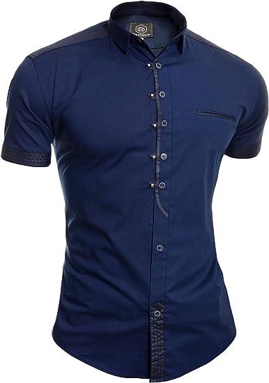 Camisa Casual de Manga Corta para Hombre Collar Clasico Botones de Metal Algodón