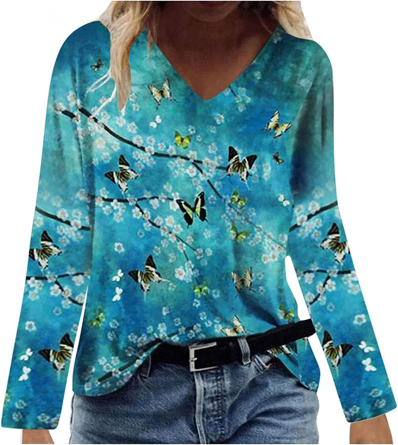 Leirke Flowy Shirts for Women, Summer Trendy Long Sleeve Casual Flowers Print Tunic Tops Comfy Soft V-Neck Blouses