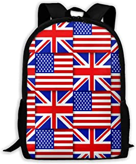 Backpack USA And UK Flag Zipper School Bookbag Daypack Travel Rucksack Gym Bag For Man Women
