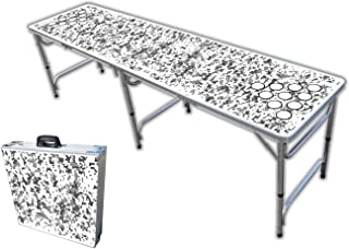 8-Foot Professional Beer Pong Table w/Optional Cup Holes - White Camo Graphic