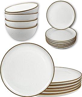 Mora Ceramic Dinner Plates, Salad Plates, Cereal Bowls Bundle. Microwave, Oven and Dishwasher Safe, Scratch Resistant, Mod...