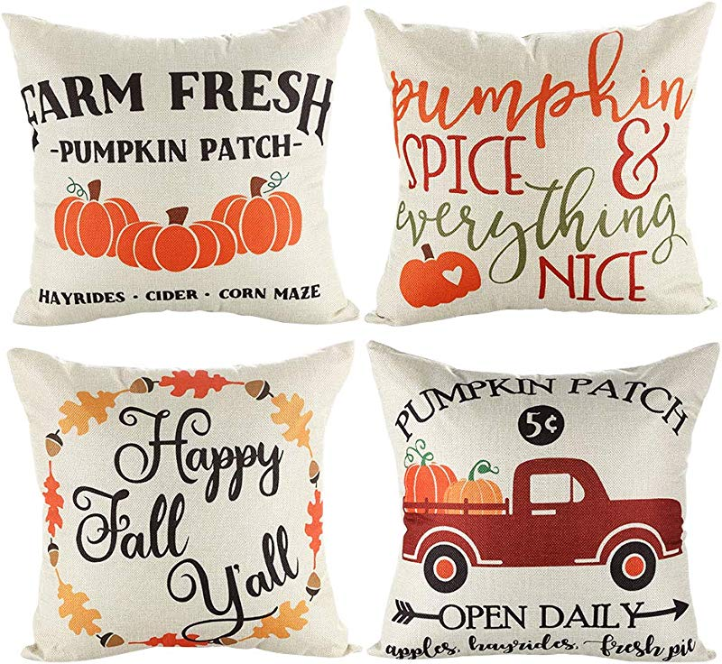 16x16 Fall Decor Pillow Covers Decorative Thanksgiving Harvest Farmhouse Autumn Pumpkin Throw Pillow Shams Cover Cases Set Of 4 For Couch