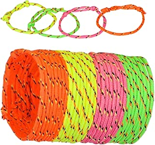 Vlish 144 Neon Woven Rope Adjustable Friendship Bracelets in 4 Assorted Neon Colors, Great Christmas Stocking Stuffer, Goody Bags or for Halloween