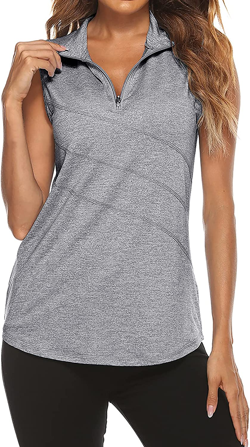 Under blast sales Tanst Sky Chicago Mall Women's Zip Up Tank Workout Sleevel Tops Quick Dry Top
