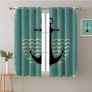 Jinguizi Anchor Grommet Curtain Kids,Vintage Style Anchor Design with Wave Water Color Antique Nostalgic Sea Sign,Light Darkening Curtains,84W x 72L