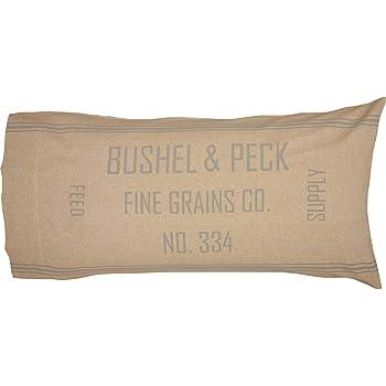 GRACE GRAIN SACK Throw Pillow Tan//Blue Stripe Country Farmhouse 14x22 VHC Brands