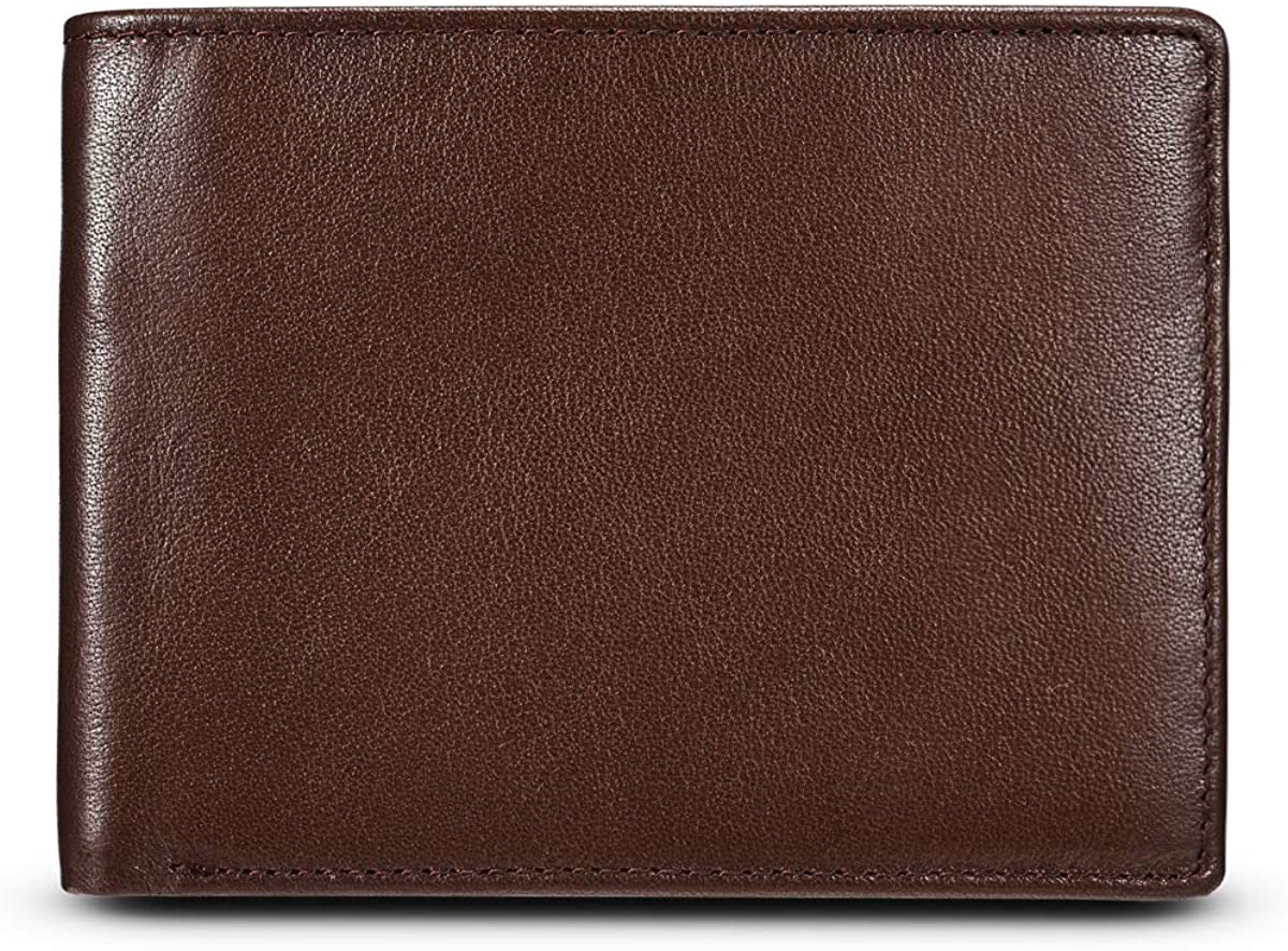 MUITON Men's RFID Protection Bifold Leather Pocket Wallet with Id Window-in Gift Box