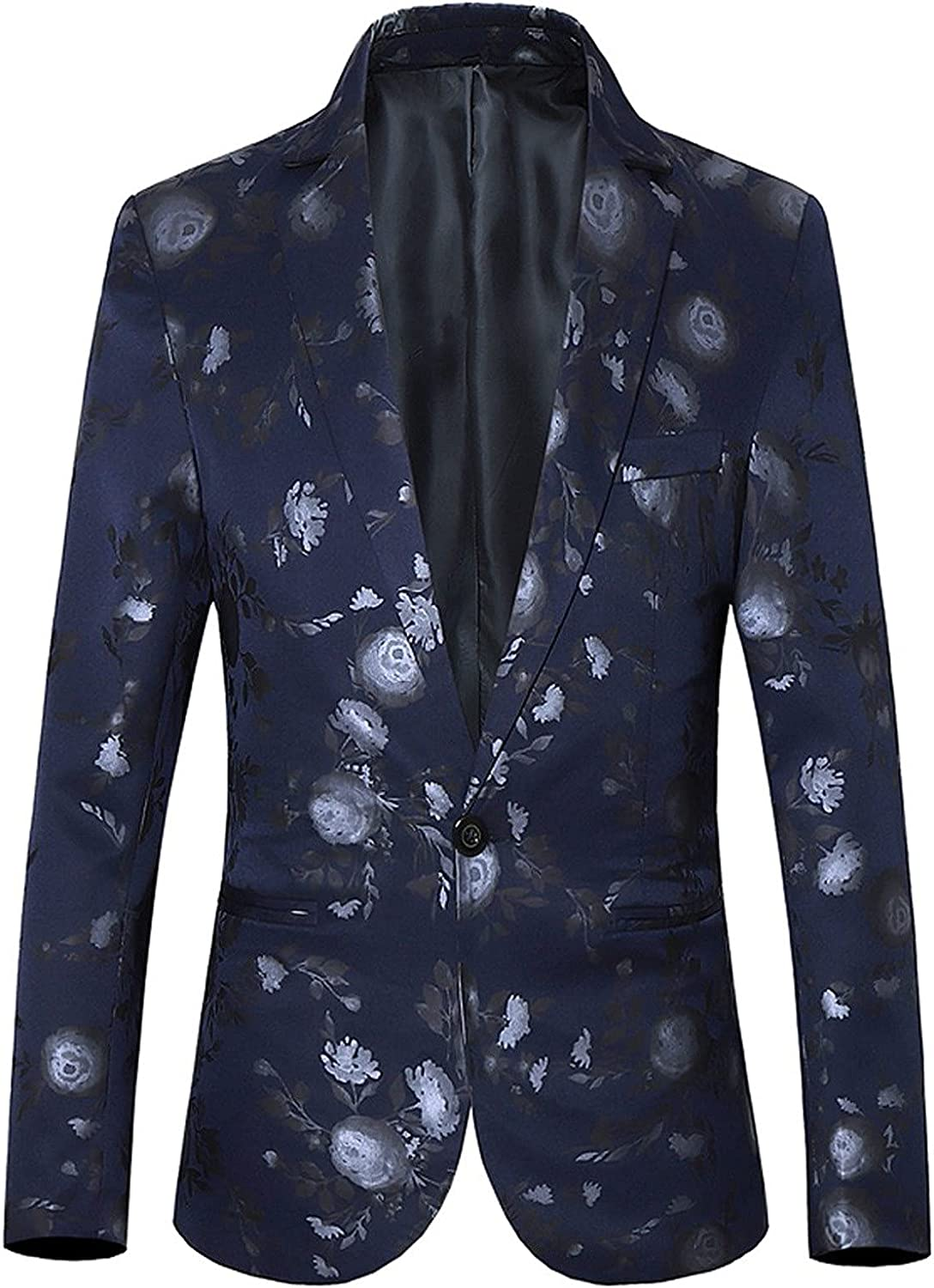 Men's Suit Jacket Long Sleeve Slim Fit Floral Print One Button Tuxedo Blazer for Business Wedding Party Prom