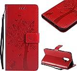 CESTOR Brieftasche H�lle f�r Samsung A6 Plus 2018,Premium Rot Retro Katzen und Baum Muster mit Faltbar Stand und Halter Kreditkarte Slots Magnetverschluss Flip Cover f�r Samsung A6 Plus 2018