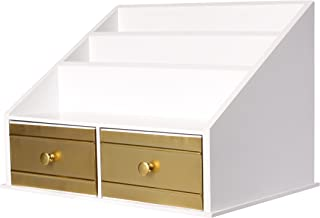 Kate and Laurel Industrious Desktop File Folder Organizer with 2 Pockets and 2 Drawers, White and Gold