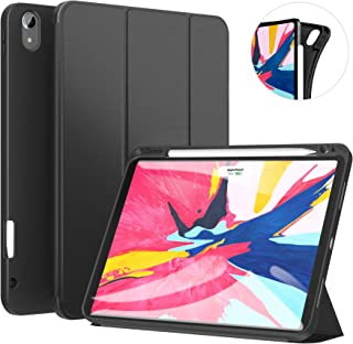 Ztotop Case for iPad Pro 11 Inch 2018 with Pencil Holder- Lightweight Soft TPU Back Cover and Trifold Stand with Auto Sleep/Wake,Support 2nd Gen iPad Pencil Charging,Black