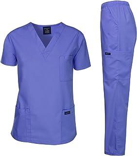 Dagacci Scrubs Medical Uniform Mens Scrub Set Medical Scrubs Top and Pants