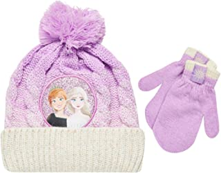 Disney Little Girls Frozen Elsa and Anna Beanie Hat and Gloves Cold Weather Set (Age 2-7), Size Age 2-4, Frozen Pink Mitten