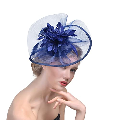 dressfan Headband Fascinator Elegant Feather Mesh Gown Party Big Circular  Hats Banquet Bridal Gauze Headdress 9e304437d1b