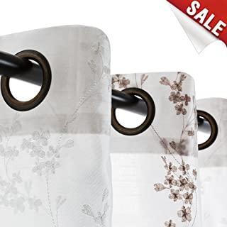 jinchan Faux Silk Floral Embroidered Sheer Curtains for Bedroom Embroidery Curtain for Living Room, 2 Panels, 84