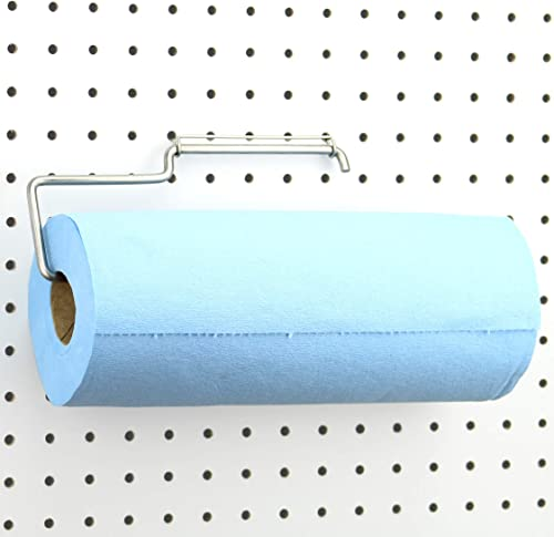 Pegboard Paper Towel Holder - Stainless Steel - Hooks to Any Peg Board - Pegboard Organization Accessory - Add to Peg...