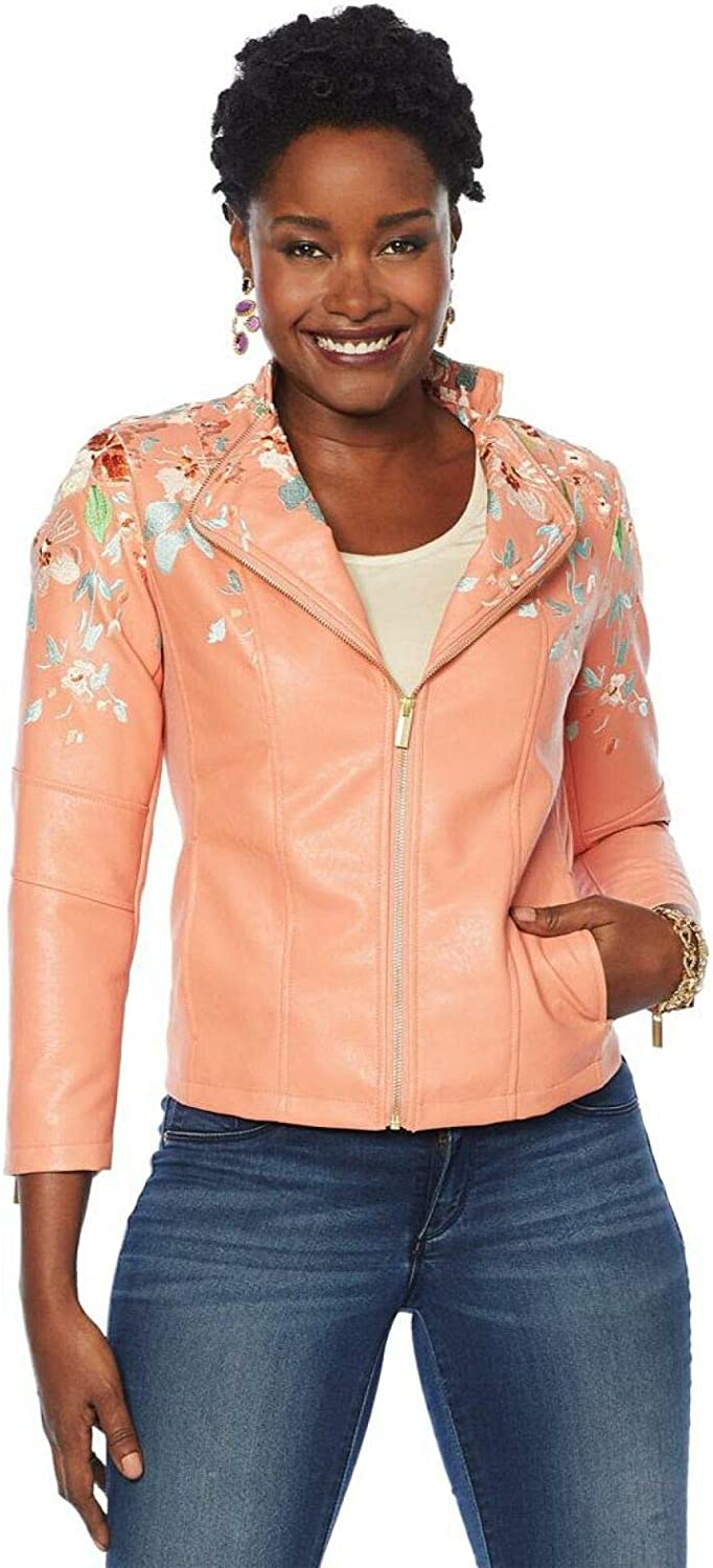 Colleen Lopez Women's Embroidered Faux Leather Jacket