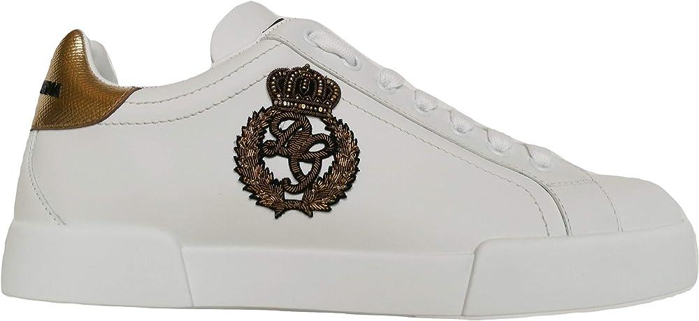 Dolce & gabbana portofino, scarpe sneakers basse da uomo, in pelle 100% CS1761 AH136 8I047