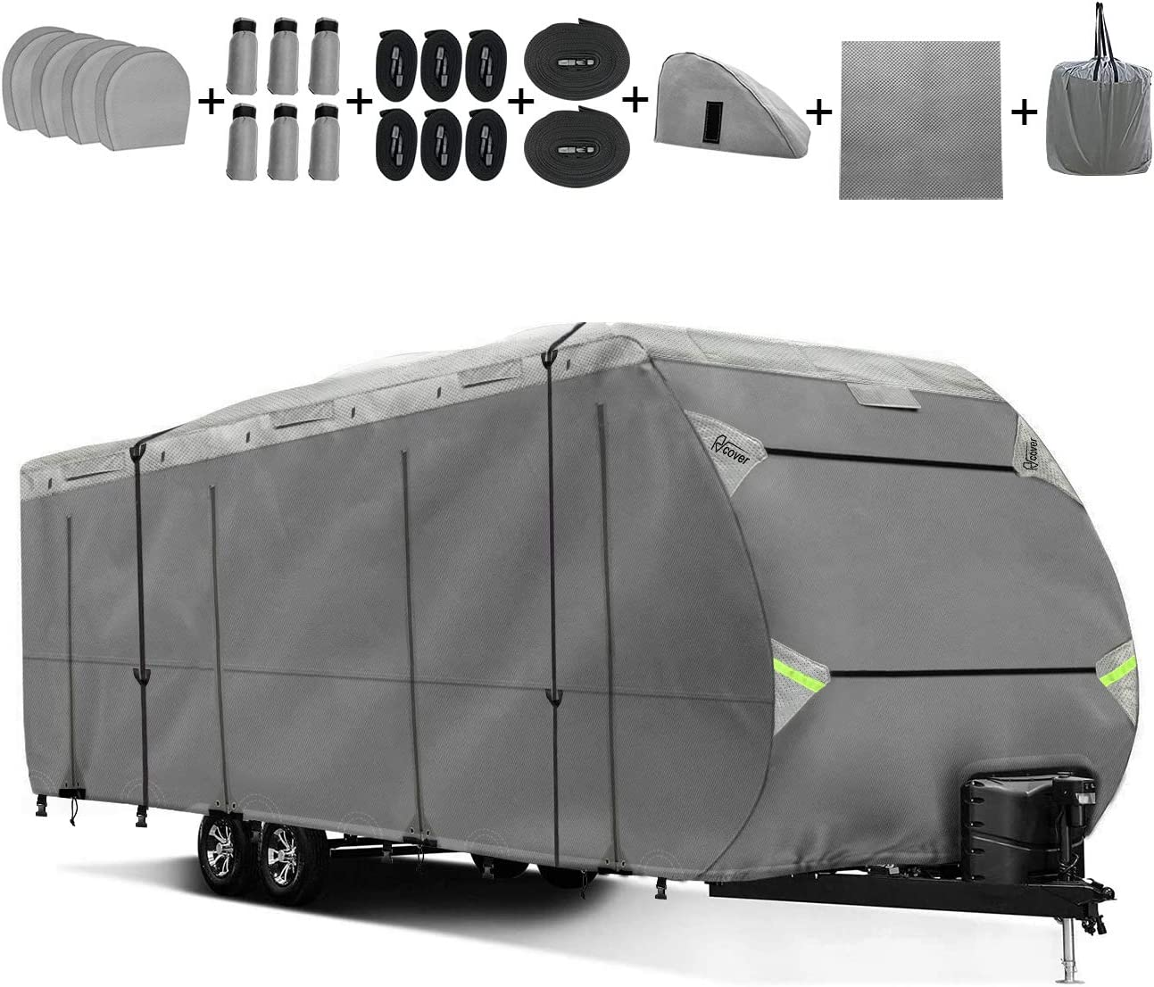 Upgraded Travel Trailer RV Cover Non-Woven Fabric Anti-Aging Waterproof Durable Design Fits 30' - 33' TT RV Camper with Various Accessories