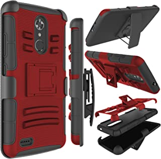 Zenic Compatible with ZTE MAX XL Case, ZTE N9560 Case, Zenic Heavy Duty Shockproof Full-Body Protective Hybrid Case Cover with Swivel Belt Clip and Kickstand Compatible with ZTE Max XL/N9560 (Red)