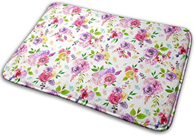 Tiny Butterfly Floral Carpet Non-Slip Welcome Front Doormat Entryway Carpet Washable Outdoor Indoor Mat Room Rug 15.7 X 23.6 inch