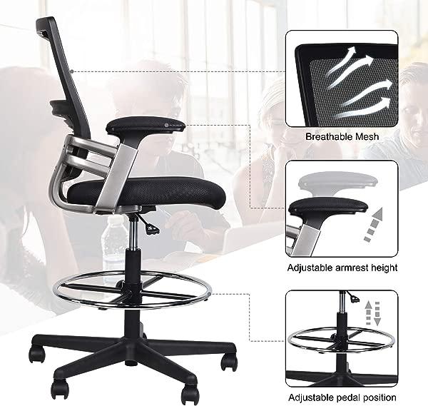 中背网格制图椅高办公椅旋转滚动执行椅,用于可调站立办公桌,带腰部支撑可调节扶手脚环 24 41X25 20X44 49 52 95 黑色