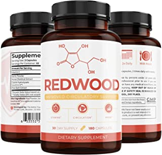Redwood: Plant-Based Circulatory Support and Nitric Oxide Booster Works as a Powerful Muscle Builder that Improves Workouts and Blood Flow, Lowers Blood Pressure, and Visibly Treats Varicose Veins