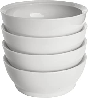 CaliBowl Non-Spill 28-Ounce Low Profile Bowl with Non-Slip Base, Set of 4, White