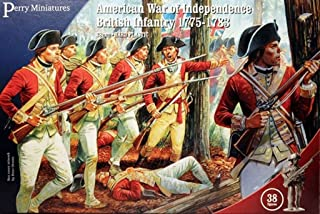 British Infantry American War of Independance 1775-1783 28mm 1:56 Hard Plastic Figures x 38 by Perry Miniatures