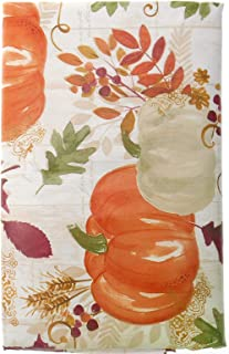 Bountiful Pumpkins and Leaves on White Background Fall Vinyl Tablecloth - Autumn Vinyl Tablecloth with Flannel Backing (52