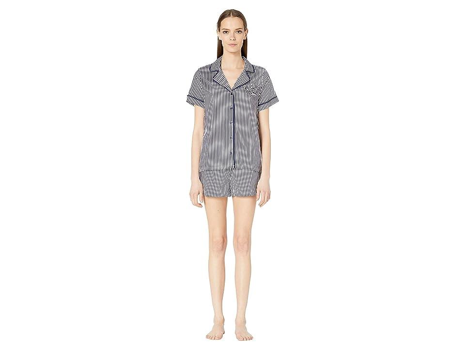 Kate Spade New York Woven Lawn Heart Short Pajama Set (Navy Stripe) Women
