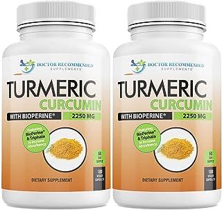 Turmeric Curcumin with Bioperine - 360 Veggie Capsules - 2250mg 95% Curcuminoids Highest Max Potency with Black Pepper for...
