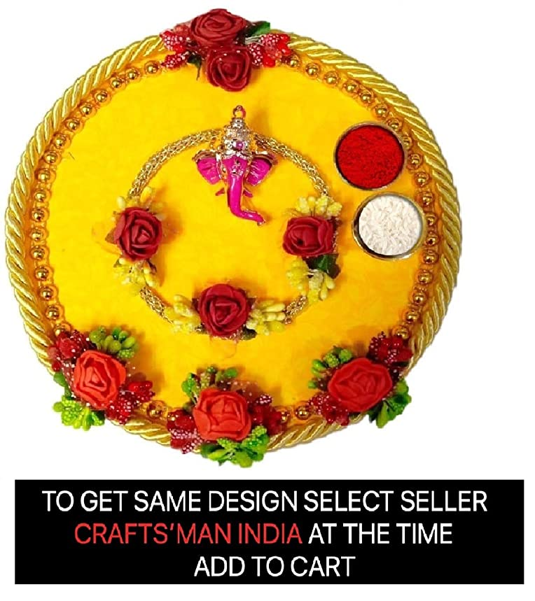 Complete Indian Rakhi Thali Set/Rakhi Platter. Thread/Bracelet/for Bhaiya, Bhabhi on Indian Bracelet/Rakhi for Brother, Best Gift for Rakshabandhan.Pooja Thali/Puja Thali