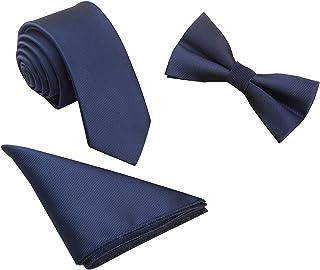 WANYING Herren Fliege & 6cm Schmale Krawatte & Einstecktuch 3 in 1 Sets Basic - Einfarbig