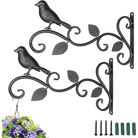 "HEVERP Wall Hook Hanging Plant Bracket 2 Pack 11.8"" Iron Bird Feeders Hook Hander for Flower Baskets, Feeders,Street Lights, Corridor Lights, Candle Holders,for Indoor Outdoor Festival Decoration"
