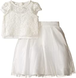 Satin & Lace Two-Piece Popover Bolero & Layered Skirt (Little Kids)