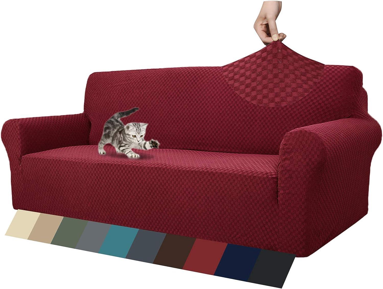 MAXIJIN Fundas de sofá Jacquard para 4 plazas, superelásticas y Antideslizantes, para Perros, Apto para Mascotas, 1 Pieza de Protector de Muebles elásticos (4 Plaza, Rojo Vino)