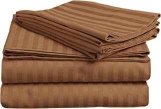 Superior 400 Thread Count 100% Premium Combed Cotton, 4-Piece Bed Sheet and Pillowcase Cover Set, Stripe, Queen - Taupe