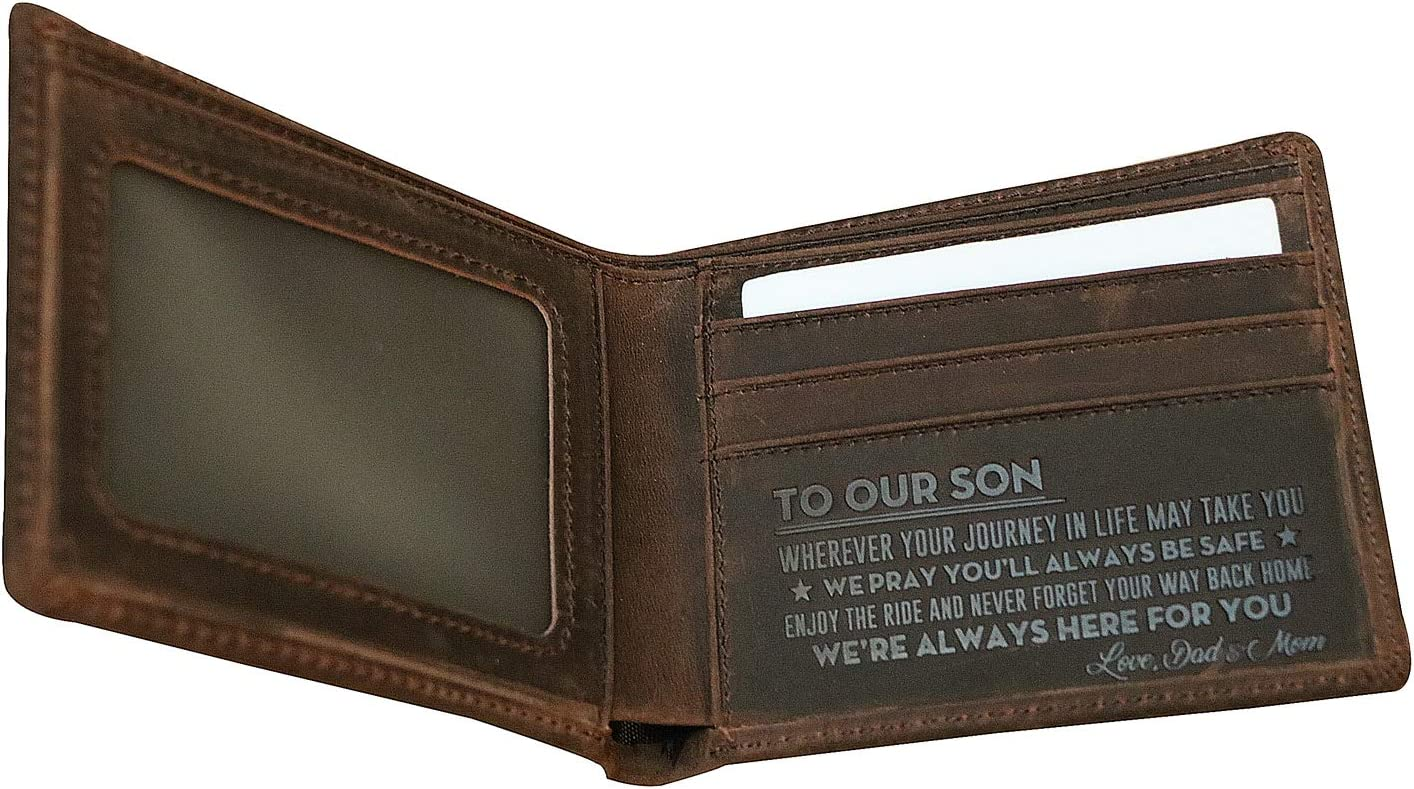 Mens Leather Wallet Engraved Wallet Genuine Leather Bifold RFID Blocking Wallet To Our Son