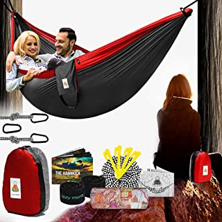 Lazy Monk Double Hammock w/Tree Straps Included | Portable Foldable Hamock Outdoor, Travel, Backpacking, Camping | Hamaca para dos | Best Complete Two People 2 Person Folding Patio Amaca for Outside