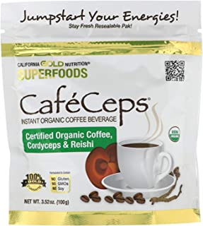 California Gold Nutrition, CafeCeps, Certified Organic Instant Coffee with Cordyceps and Reishi Mushroom Powder, 3.52 oz (...