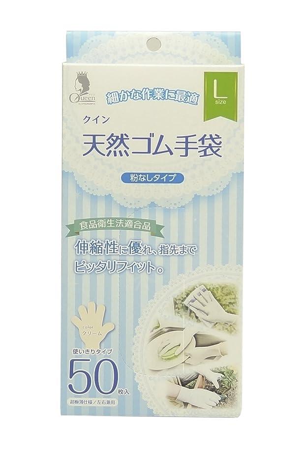 知事謝罪する最初宇都宮製作 クイン 天然ゴム手袋(パウダーフリー) L 50枚